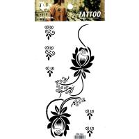 HM1102 new fashion Black flower tattoo sticker waterproof flower tattoo sticker