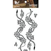 HM1100 waterproof black color flower leg tattoo sticker