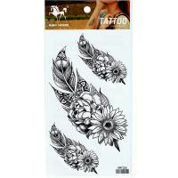 HM1055 Temporary three big middle small feather-sunflower tattoo sticker