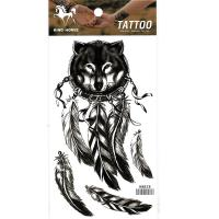 HM828 black color Wolf Head Dreamcatcher Tattoo Sticker