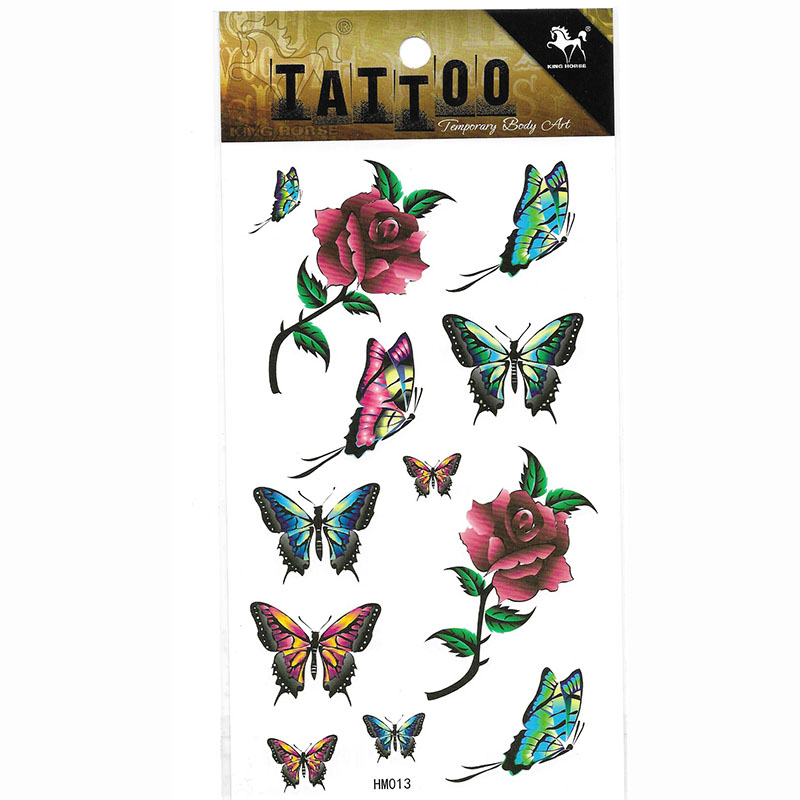 HM013 flower butterfly temporary tattoo sticker
