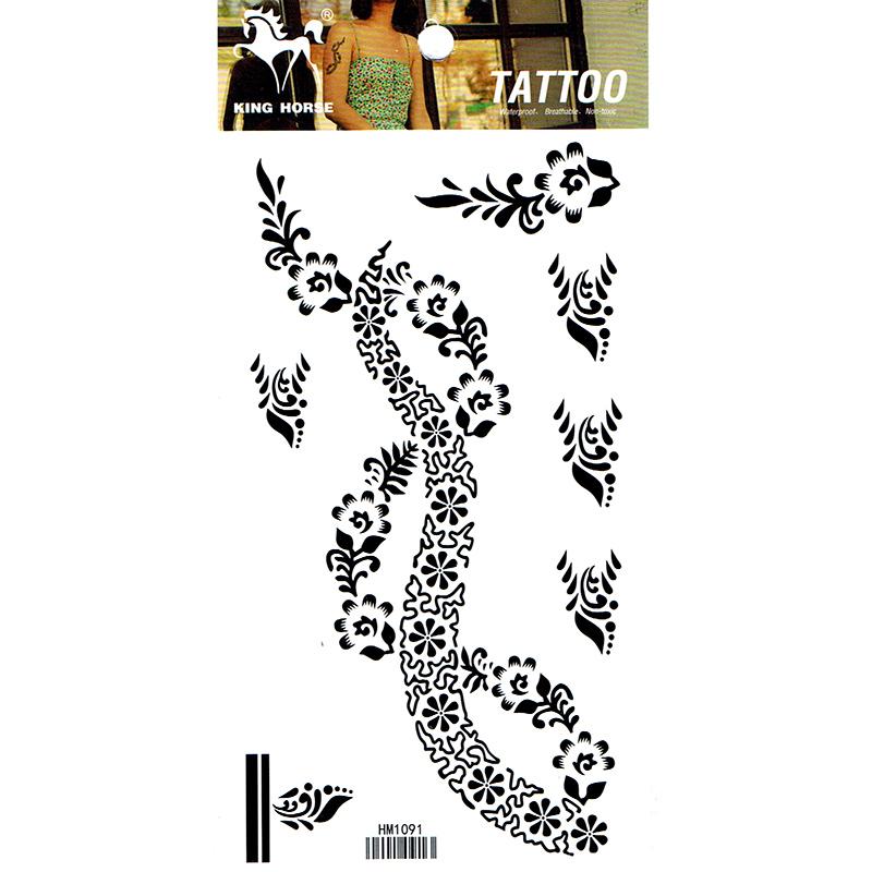 HM1091 Waterproof Temporary arm black flower tattoo sticker