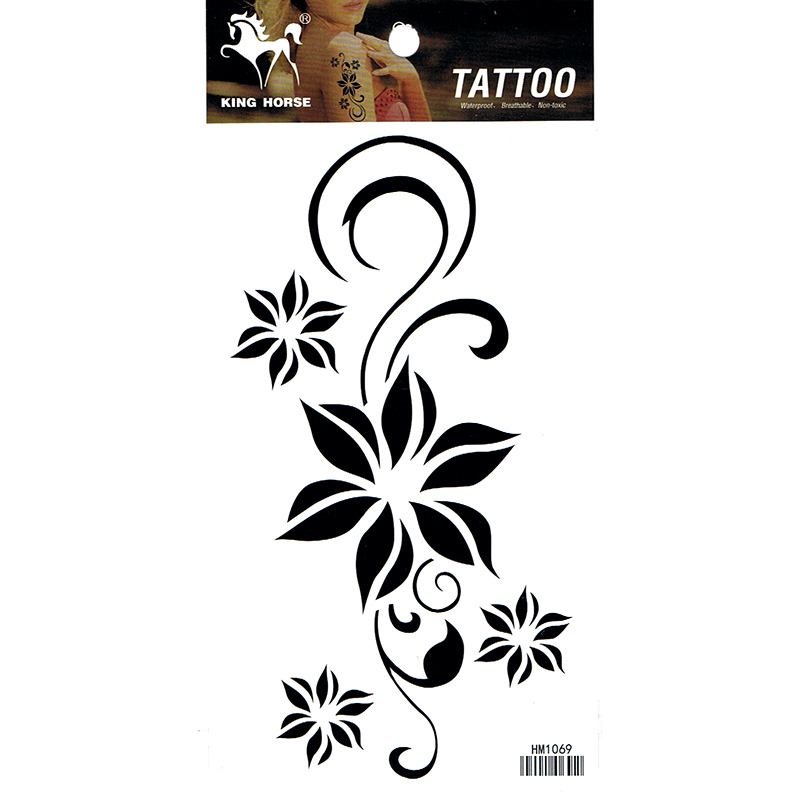 HM1069 Waterproof Temporary black flower arm tattoo sticker
