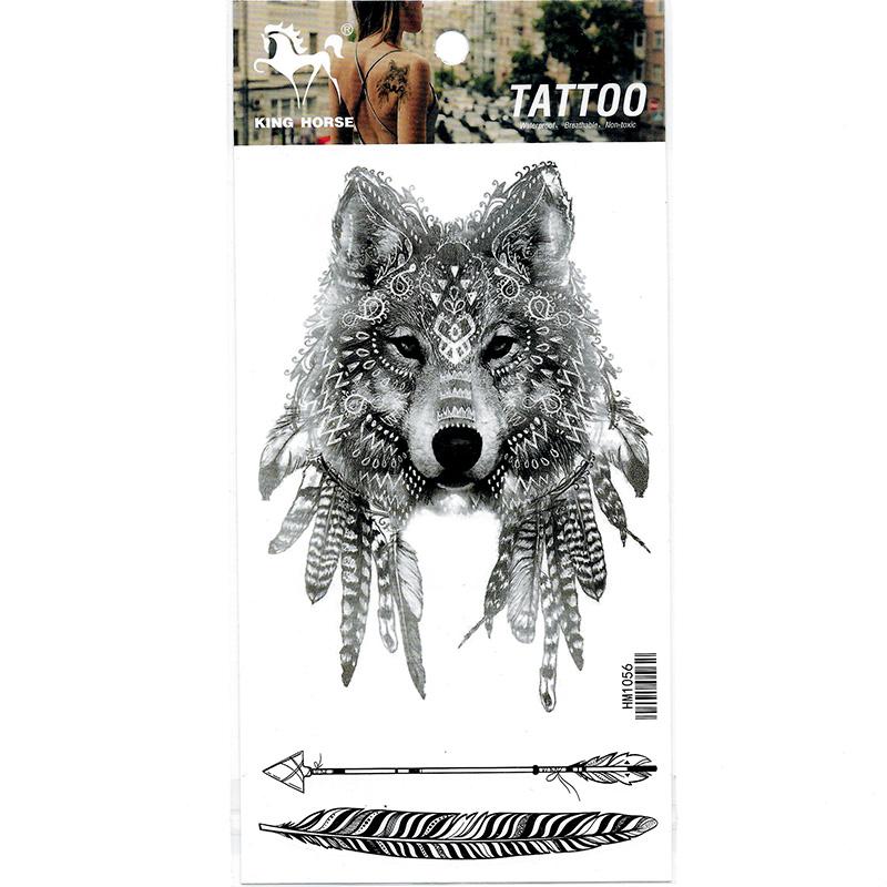 HM1056 New fashion wolf men arm fake tattoo sticker waterproof leg tattoos