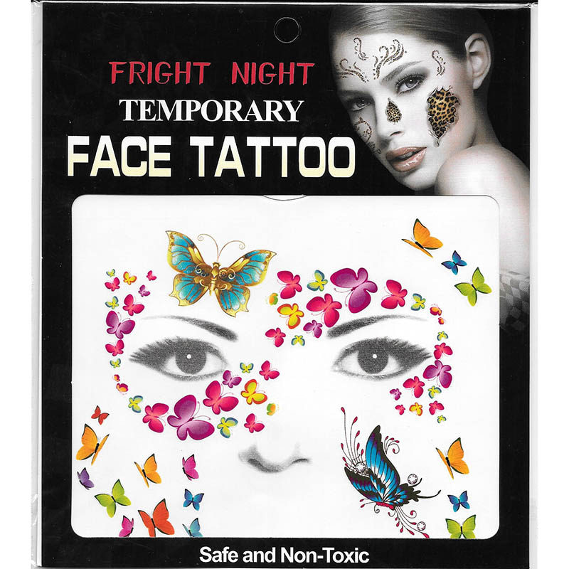 full face temporary butterfly tattoo sticker for party