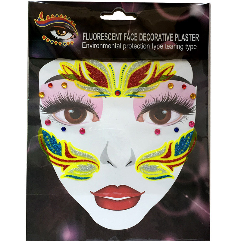 FST007 fashion glitter acrylic face tattoo diamond sticker