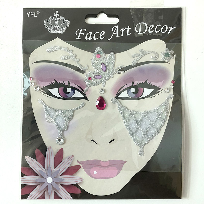 FST017 Crystal Face art decoration lady's part face sticker