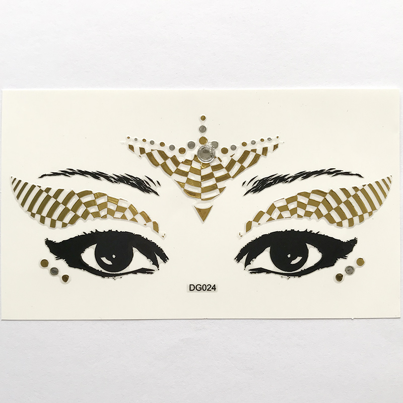 DG024 Gold white silver eye face decoration sticker Face Jewels Rhinestones Adhesive Crystal Sexy Eyeshadow Gold Makeup Eye Sticker