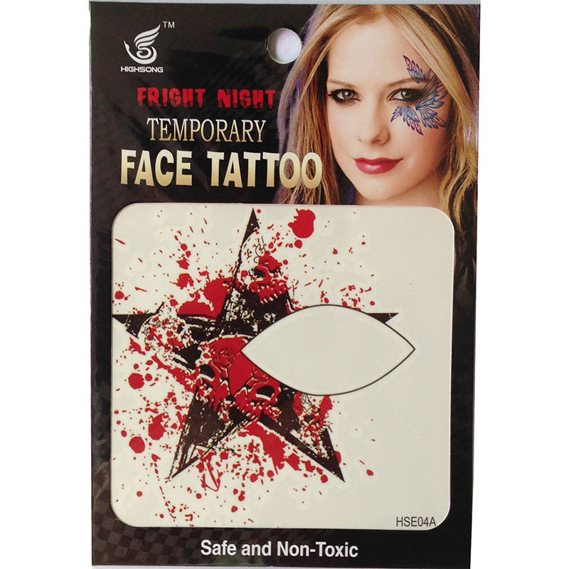 HSE04 party fashion waterproof single eye tattoo left and right five-star temporary eye tattoo sticker