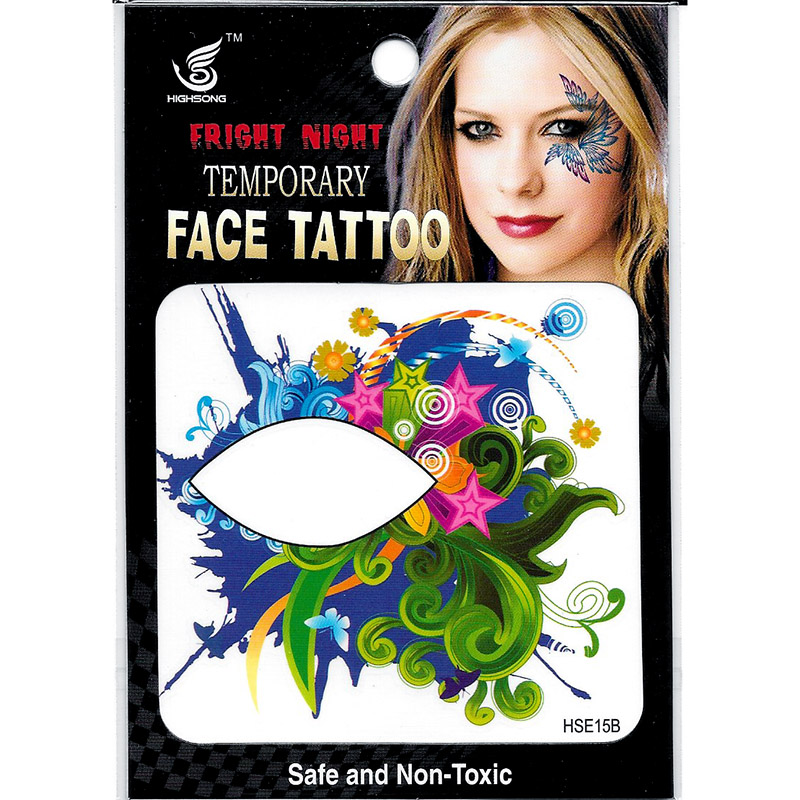 HSE15 8X8cm Night party colored five star leaf flower temporary single eye tattoo sticker