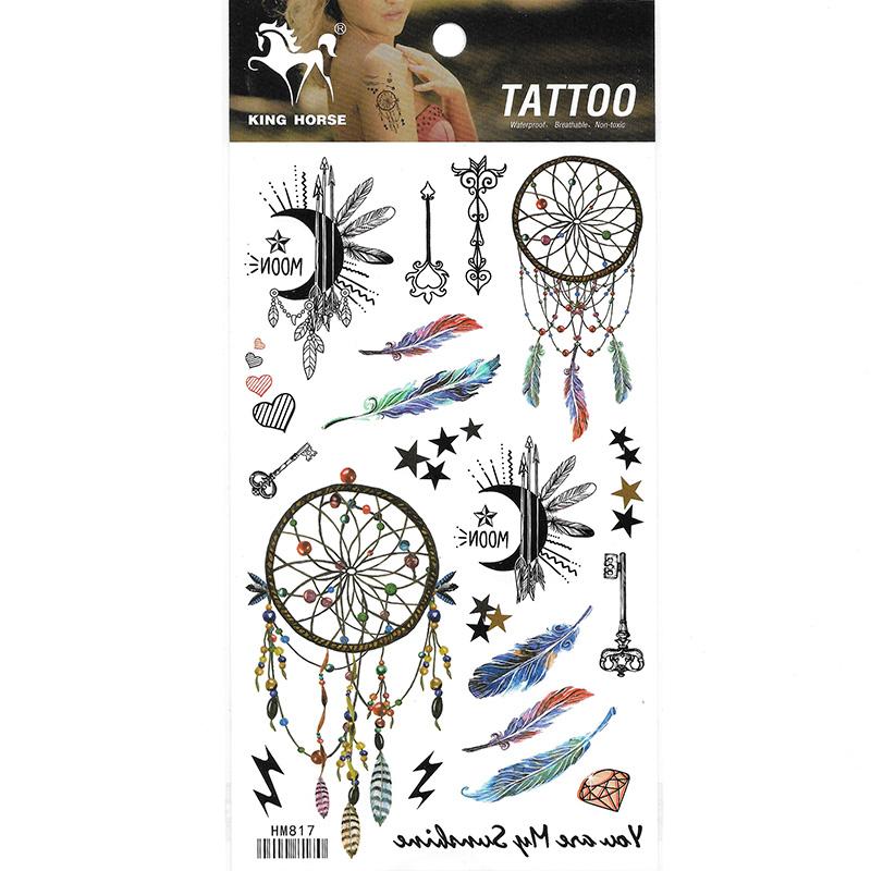 HM817 Dream Catcher Girl Wrist Waterproof Tattoo Sticker Moon Feather Key mini Tattoo Sticker