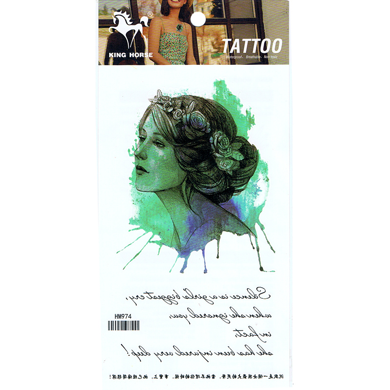 HM974 2019 new fashion Portrait of lady's waterproof temporary chest tattoo sticker
