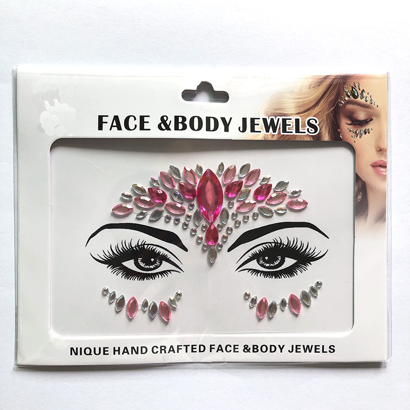 WNY-804-11 Face Gems Luminous Temporary Tattoo Stickers Acrylic Crystal Glitter Stickers Waterproof Face Jewels