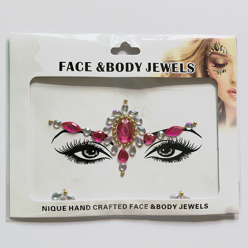 WNY-804-12 Temporary Tattoo Stickers Acrylic Crystal Glitter Stickers Waterproof Face Jewels