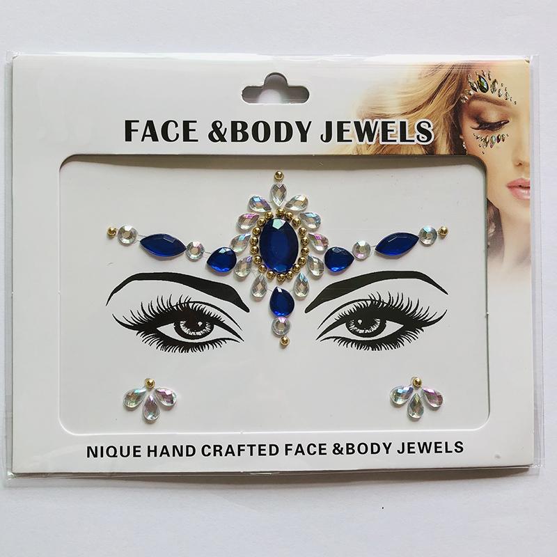 WNY-804-14 Temporary Tattoo Stickers Acrylic Crystal Glitter Stickers Waterproof Face Jewels