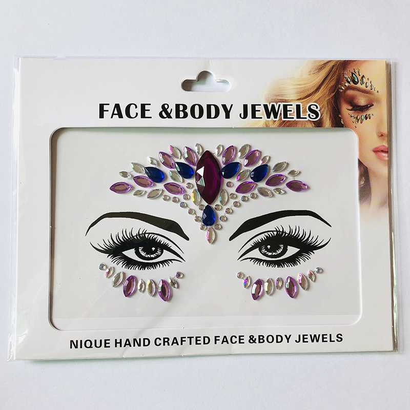 WNY-804-15 Temporary Tattoo Stickers Acrylic Crystal Glitter Stickers Waterproof Face Jewels