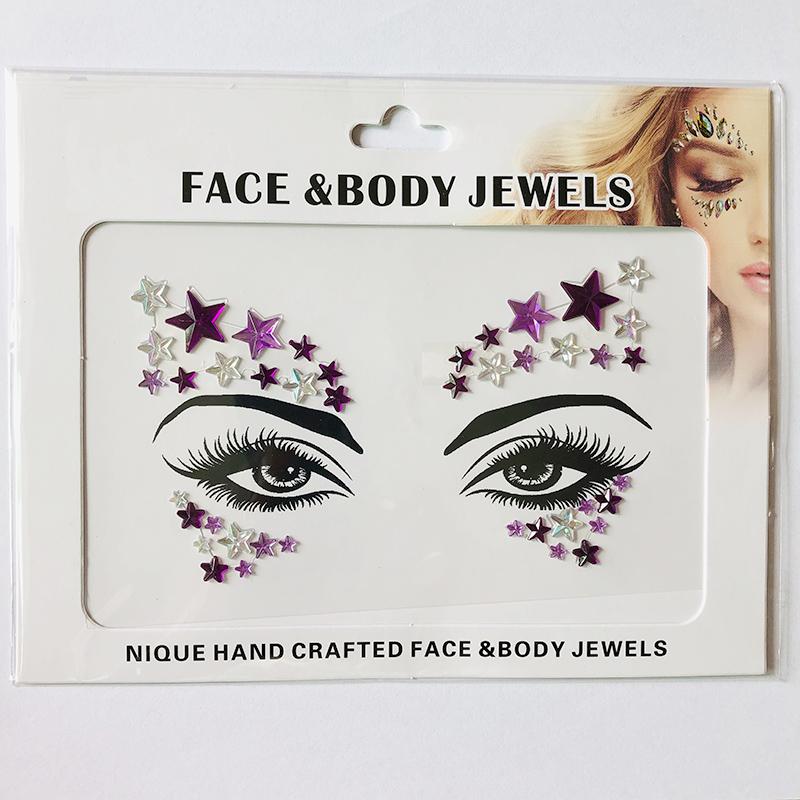 WNY-804-16 Temporary Tattoo Stickers Acrylic Crystal Glitter Stickers Waterproof Face Jewels