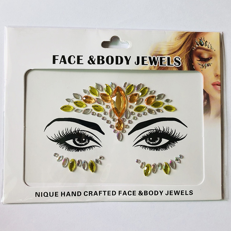 WNY-804-17 Temporary Tattoo Stickers Acrylic Crystal Glitter Stickers Waterproof Face Jewels