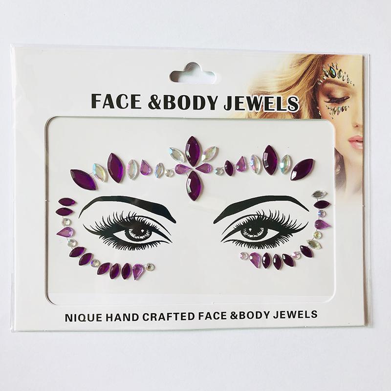 WNY-804-19 Temporary Tattoo Stickers Acrylic Crystal Glitter Stickers