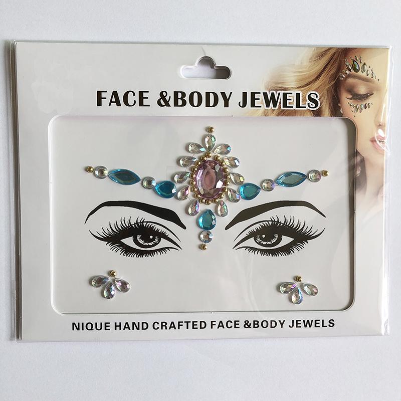 WNY-804-2 New fashion girls Eye gilttle Rhinestone self Adhesive Jewels Face sticker