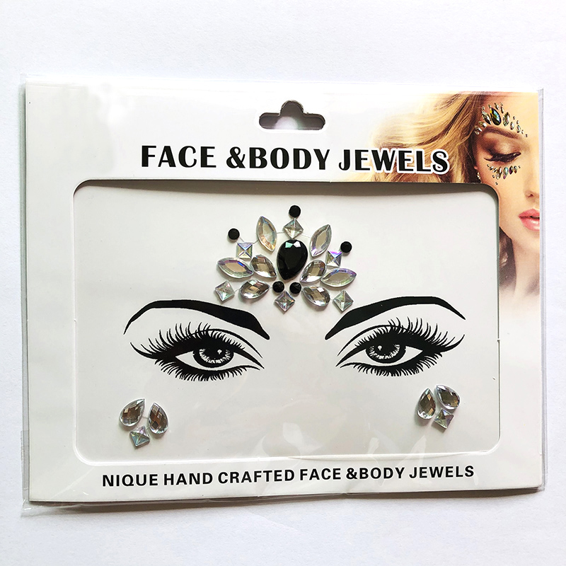 WNY-804-6 Eye gilttle Rhinestone self Adhesive Jewels Face sticker