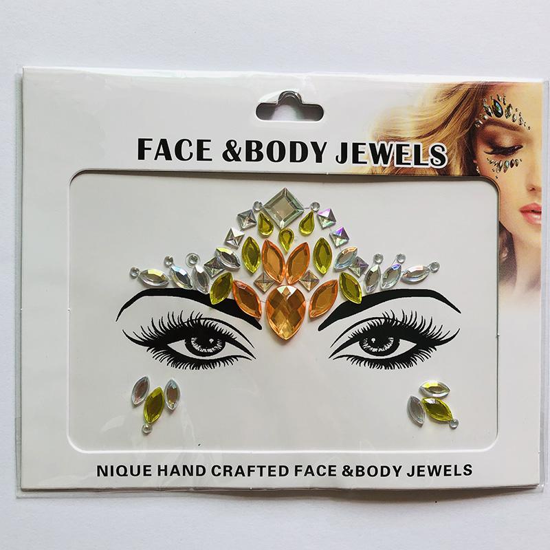 WNY-804-7 Eye gilttle Rhinestone self Adhesive Jewels Face sticker