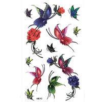 HM042waterproof temporary rose flower butterfly tattoo sticker