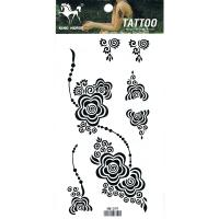 HM1079 Temporary black flower tattoo sticker