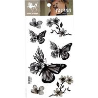 HM1136 Waterproof and sweatproof Temporary grey butterfly flower tattoo sticker