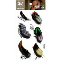 HM1034 New fashion six color feather 3D temporary fake tattoo sticker for women
