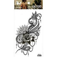 HM1054 new fashion grey lace rose flower arm tattoo sticker