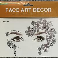 LW-004 Silver flower face tattoo sticker for adult