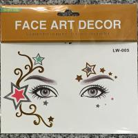 LW-005 Five star face gold tattoo sticker for adult