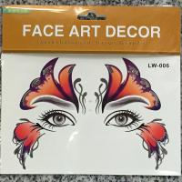 LW-006 silver red womens temporary face tattoo sticker for party