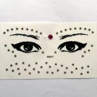 DG017 Face Jewels Rhinestones Adhesive Crystal Face Beauty Glitter gold Art five-star Eye sticker