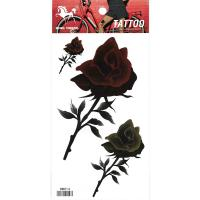 HM014 Three big and small dark red flower body art tattoo sticker