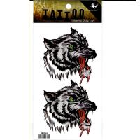 HM066 blood drop wolf chest tattoo sticker for men