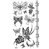 HM082 black butterfly  tattoo sticker