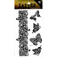 HM935 black color lace butterfly flower bracelet anklet waterproof temporary tattoo sticker
