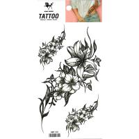 HM1133 three black flower waterproof temporary tattoo sticker