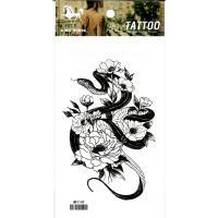 HM1149 Black color snake twining Peony tempoary body art tattoo sticker
