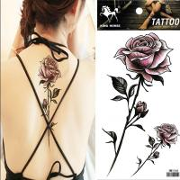 HM1144 big with small purple rose flower temporary tatttoo sticker