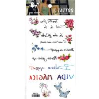 HM1154 mini flower butterfly rabbit english text tempoary tattoo sticker for girl