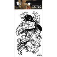 HM1166 Black color snake twining Peony tempoary body art tattoo sticker