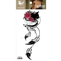 HM1170 2019 new fashion black cat red rose flower dreamcatcher body tattoo sticker for women