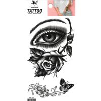 HM1201 2019 new fashion eye and black rose flower body tattoo sticker for men and women