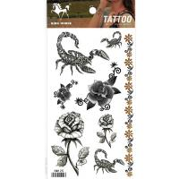 HM125 Black color Scorpion flower temporary tattoo sticker
