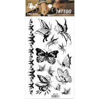 HM138 Black butterfly temporary body art tattoo sticker