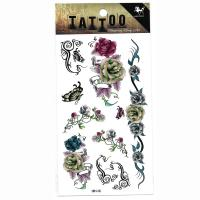 HM148 rose flower butterfly ladies temporary tattoo sticker