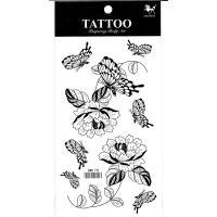 HM170 fake tattoo Black flower butterfly temporary tattoo sticker